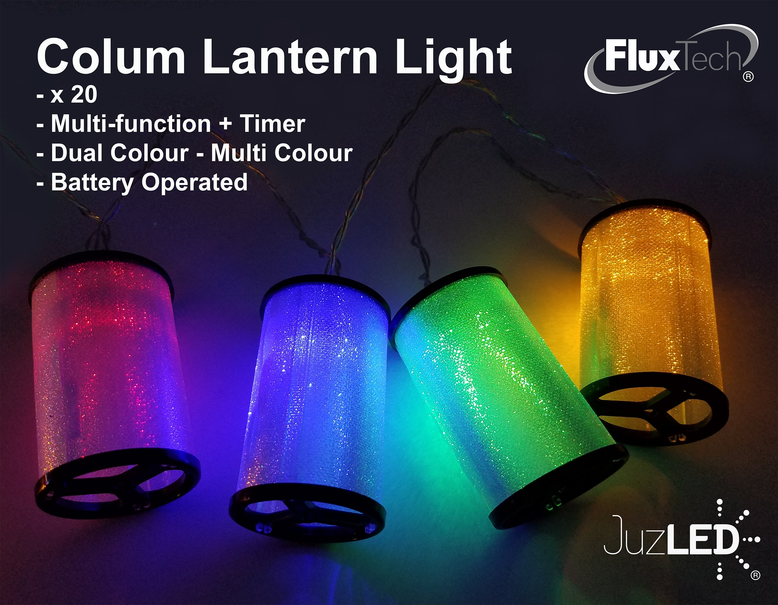FluxTech - Colum Lantern 20 x Dual Colour LED String Lights by JustLED – Multi-function Effect – Timer function - Battery Operated