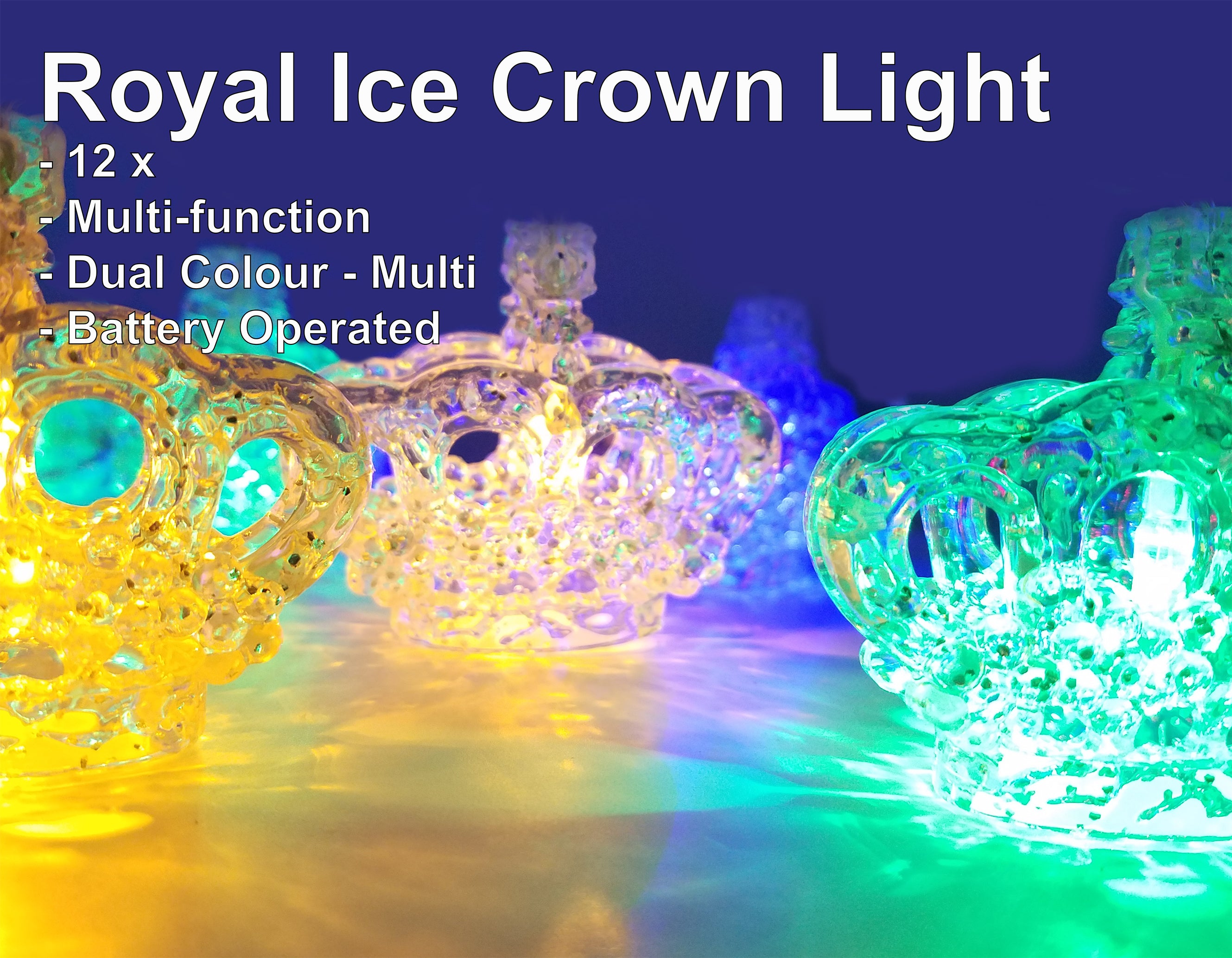 FluxTech - 3D Royal Ice Crystal Crown 12 x Dual Colour LED String Lights by JustLED – Multi-function Effect – Timer function - Battery Operated