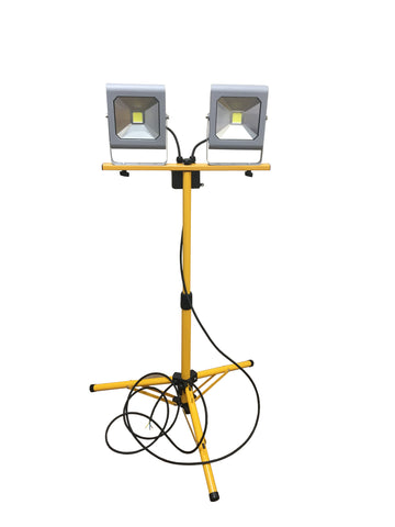 1M Adjustable Double Head Flood Light Tripod Stand with 1 for 2 Connector