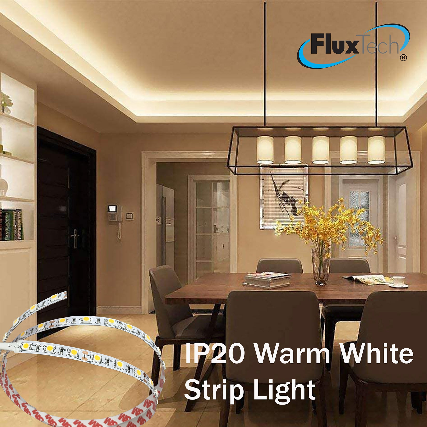 FluxTech - IP20 High Power Warm White Colour Strip Light - Low Voltage