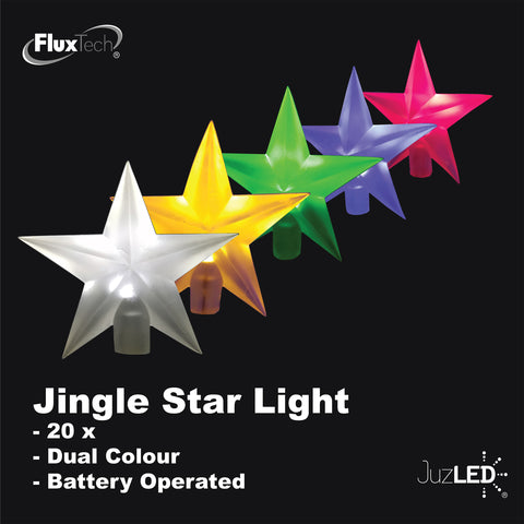 FluxTech - Twinkle Star 20 x Dual Colour LED Lights by JustLED – Multi-function Effect – Timer function - Battery Operated