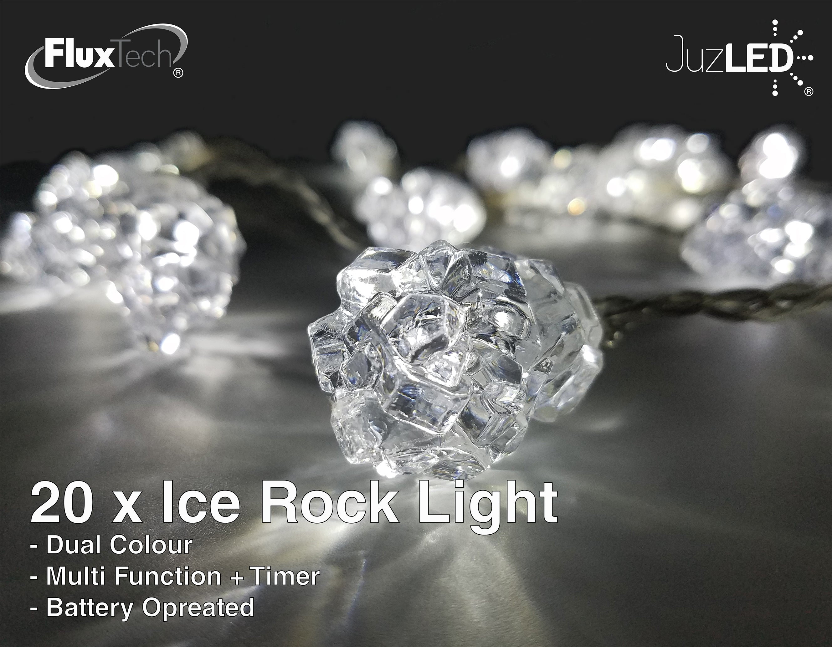 FluxTech - Ice Rock 20 x Dual Colour LED Lights by JustLED – Multi-function Effect – Timer function - Battery Operated