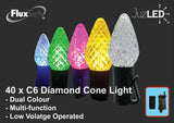 FluxTech - Remote Control - Diamond Cone C6 40 Light - Dual Colour LED String Lights by JustLED – Multi-function – Low Voltage Operated