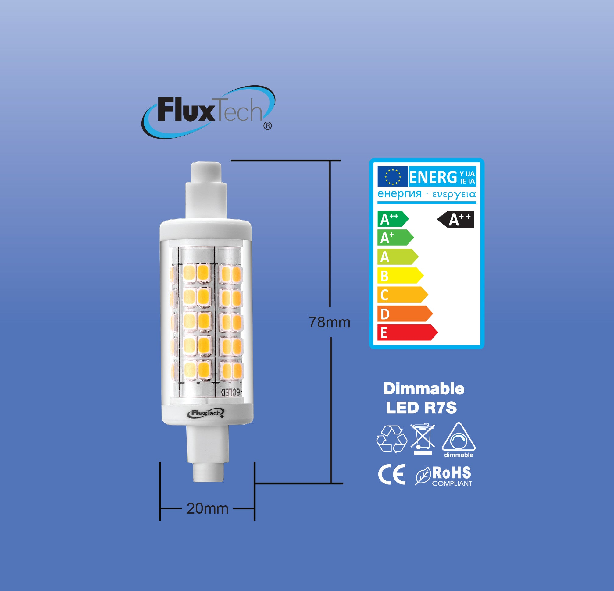 FluxTech - New Smart Dimmable 20 x 78mm R7S LED Lamp