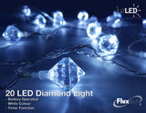 FluxTech - Diamond x 20 Cool White LED Lights by JustLED – Timer function - Battery Operated
