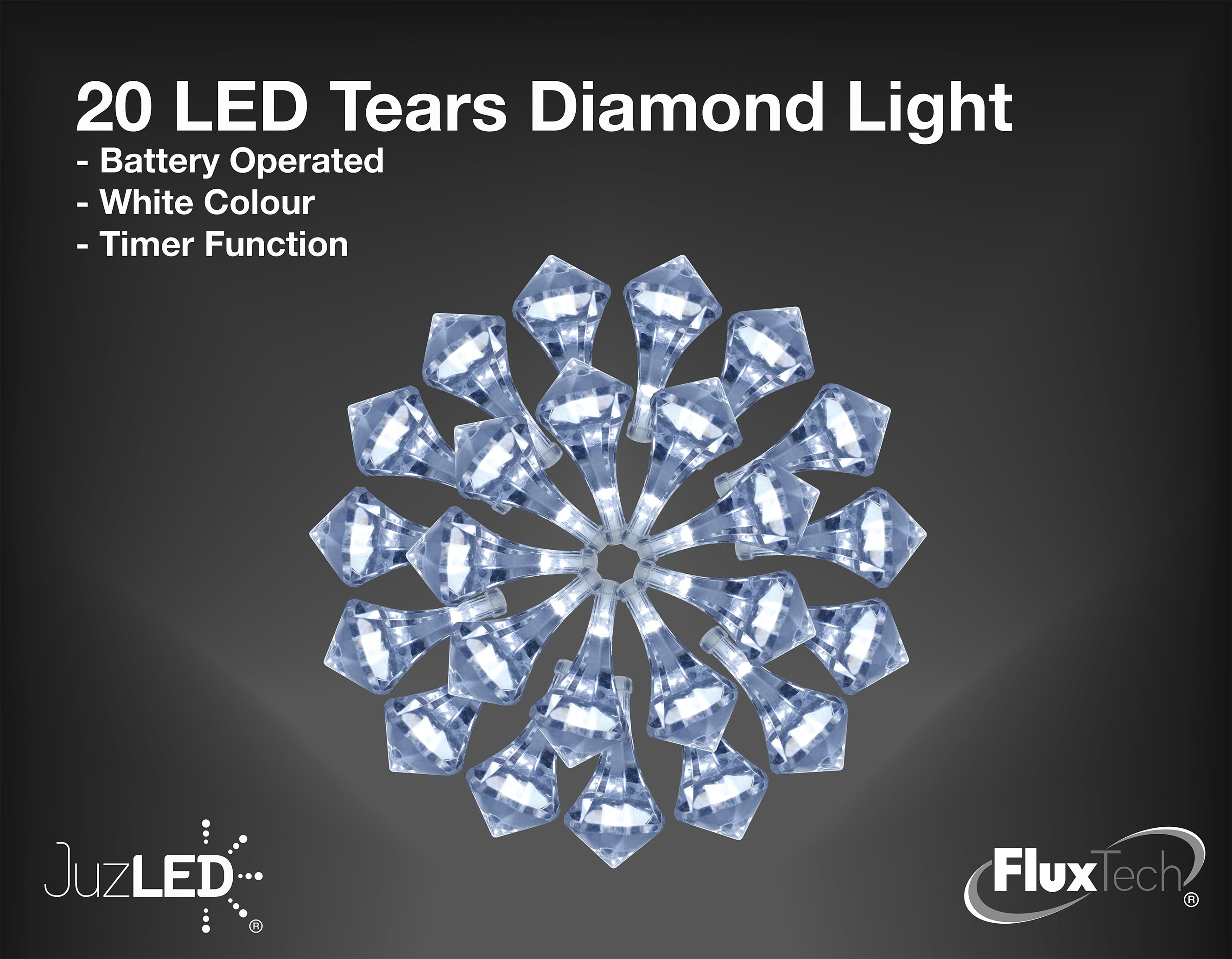 FluxTech - Tears Diamond x 20 Cool White LED Lights by JustLED – Timer function - Battery Operated