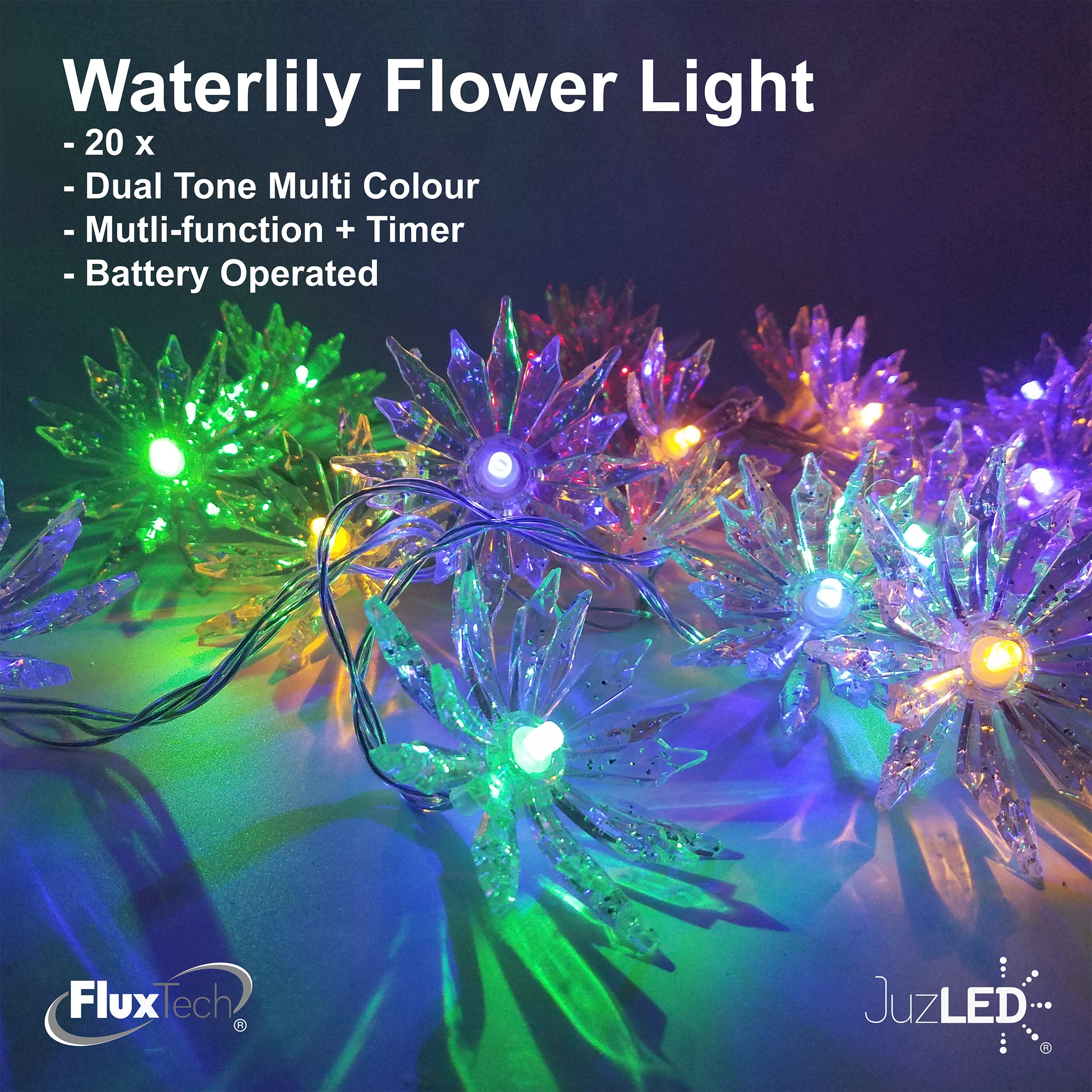 FluxTech - Sparkling Waterlily Flower 20 x Dual Colour LED String Lights by JustLED – Multi-function Effect – Timer function - Battery Operated