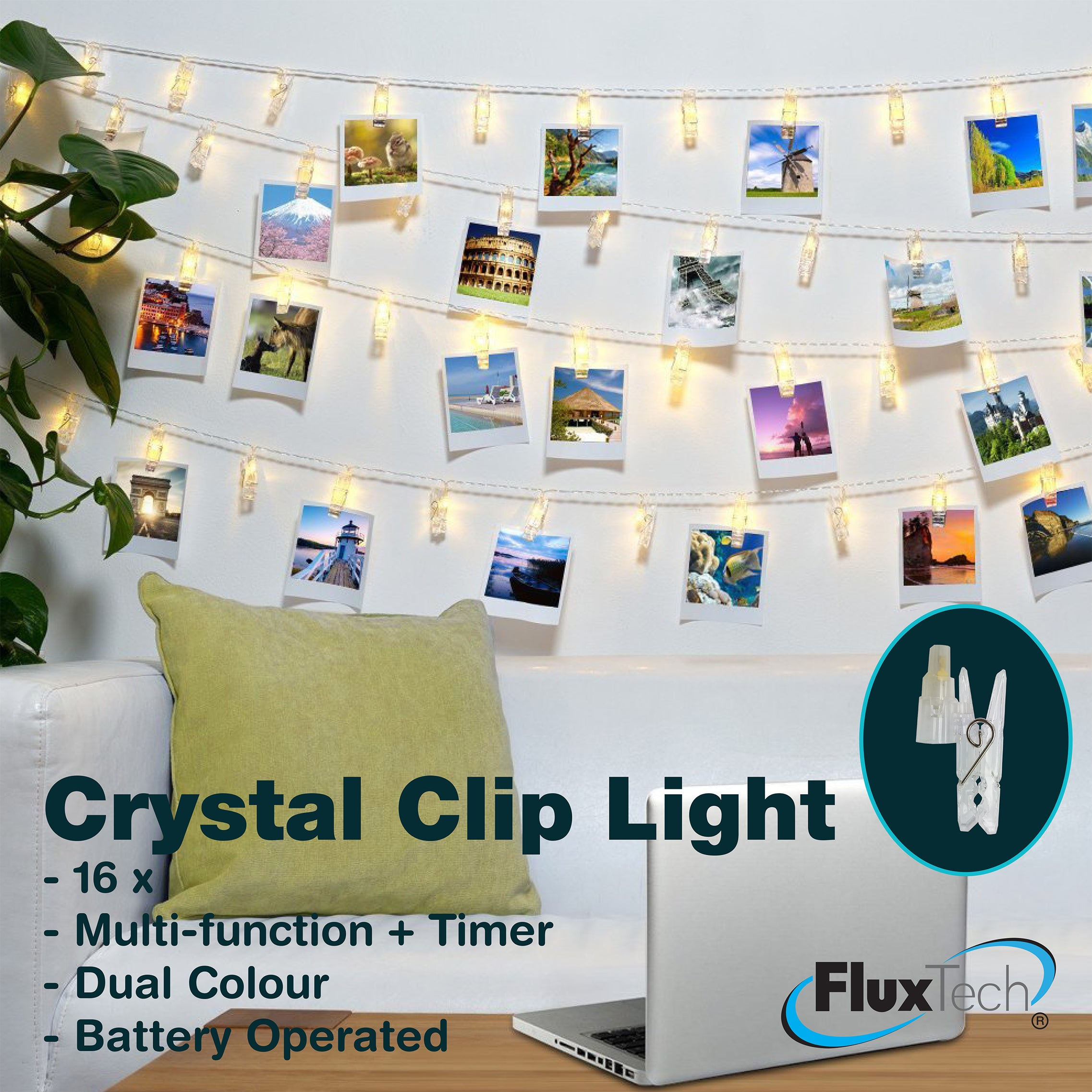 FluxTech - Crystal Peg 16 x Dual Colour LED String Lights by JustLED – Multi-function Effect – Timer function - Battery Operated