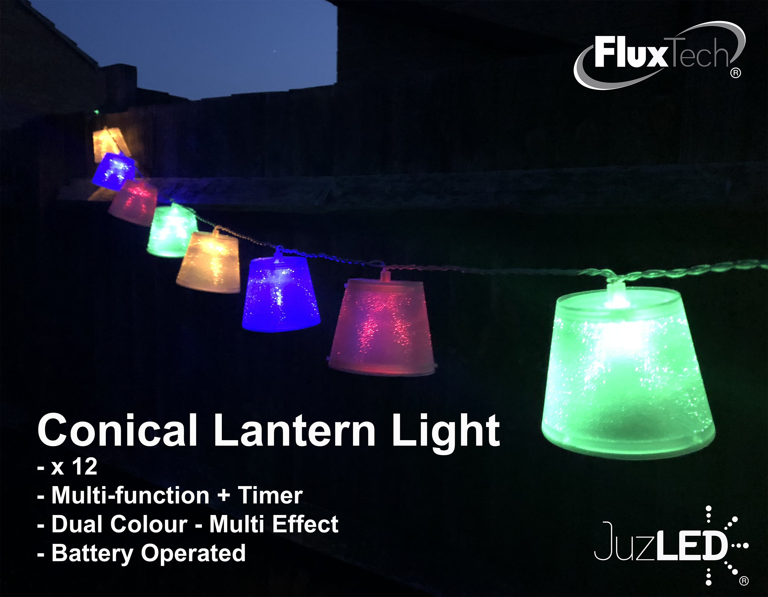 FluxTech - Conical Lantern 20 x Dual Colour LED String Lights by JustLED – Multi-function Effect – Timer function - Battery Operated