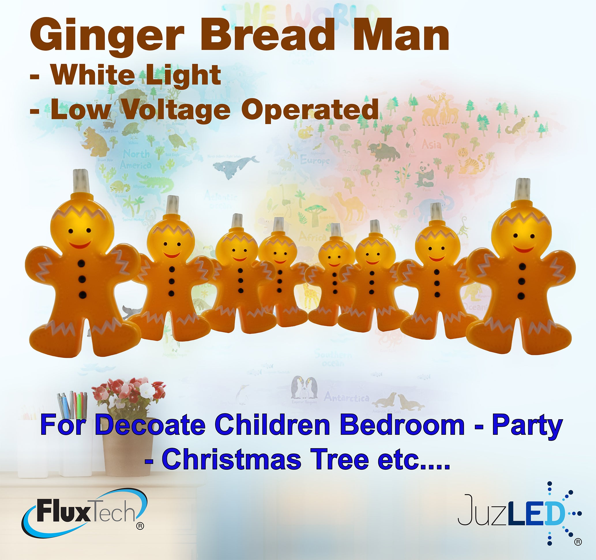 FluxTech - Ginger Bread Man 10 x White Colour LED String Lights by JustLED – Low Voltage Operated