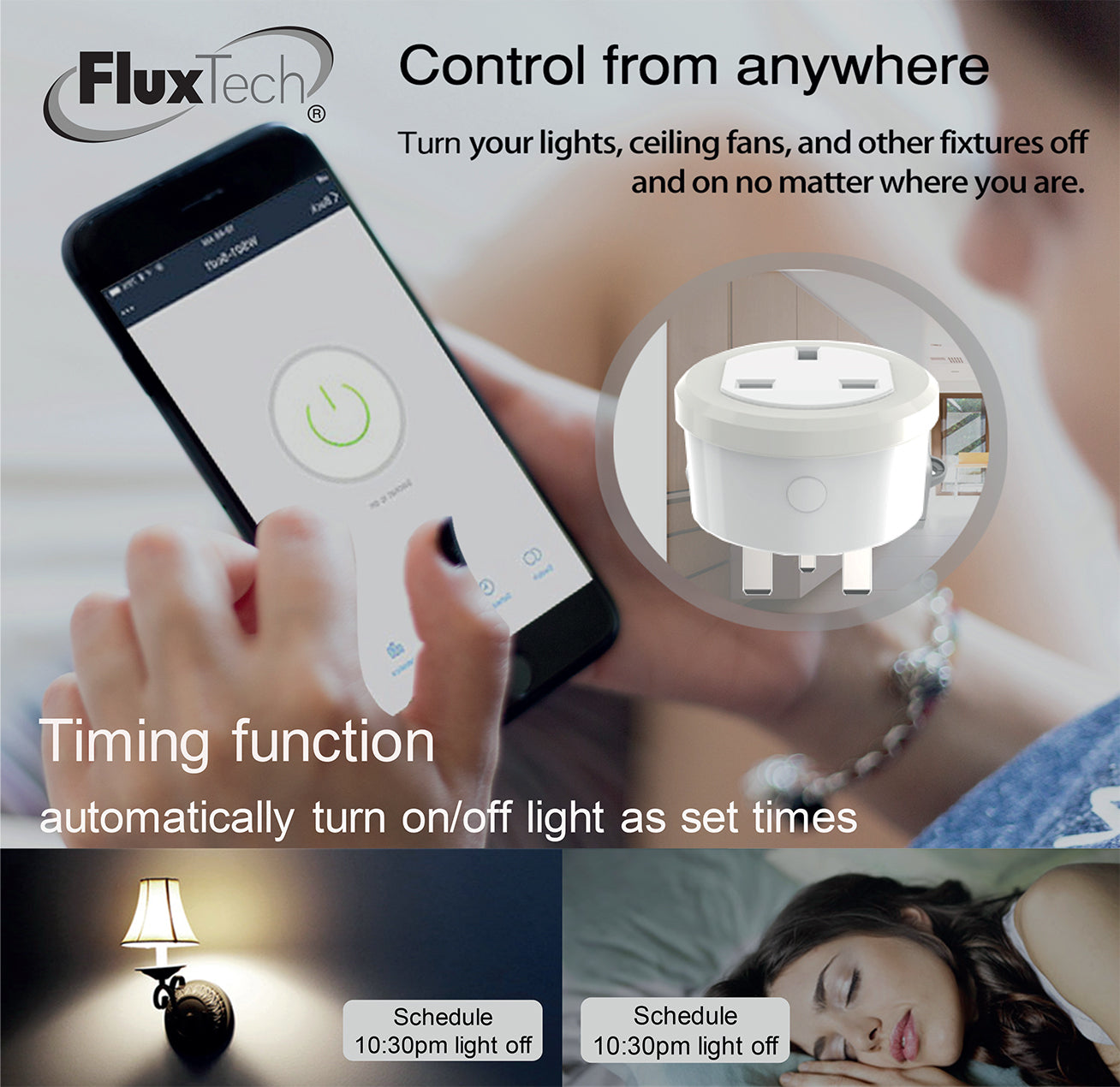 FluxTech - Wireless 2.4GHz Wi-Fi Smart Socket.