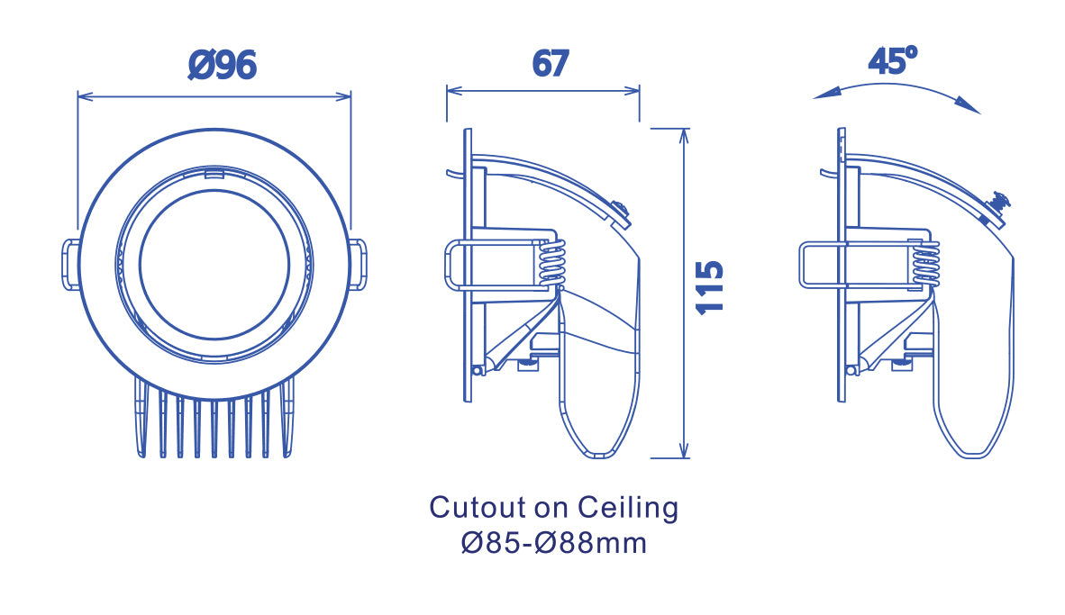 JustLED - Recessed 45° Adjustable Angle COB Stretch Downlight
