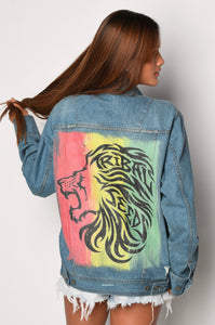 Tribal Lion Rasta Jean Jacket