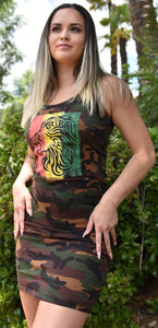 Ladies Camouflage Dress - Tribal Lion Rasta