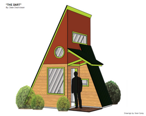 """The Dart"" PLANS- Deek's HALF A-frame, 2 Story CABIN-Tiny House-Getaway Camp"
