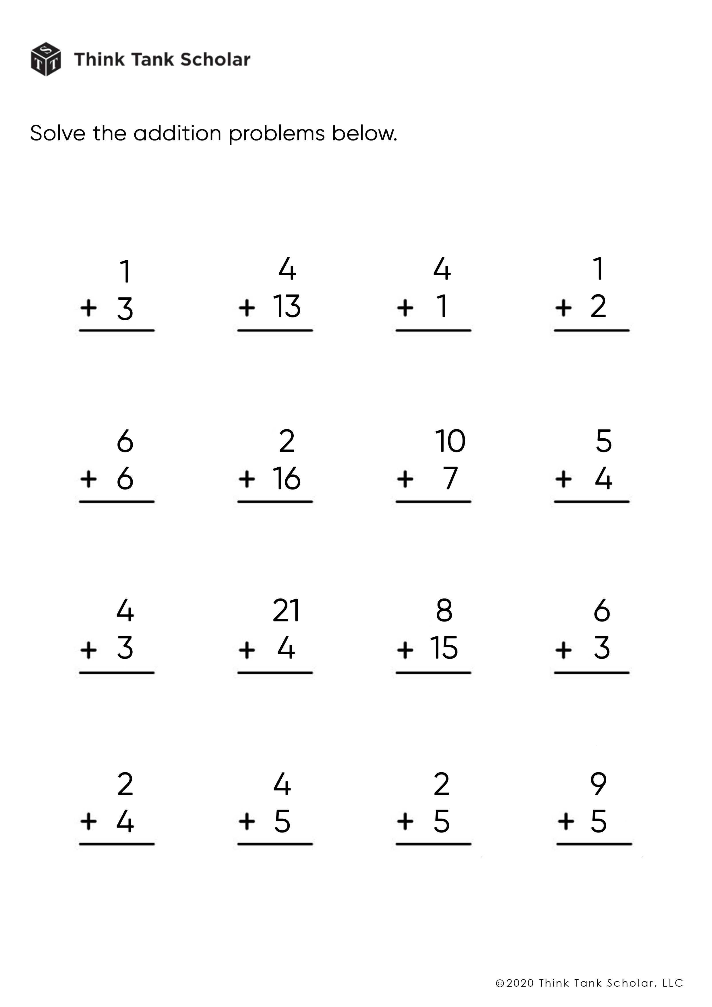 Addition Worksheets Exercises Printable PDF (FREE)