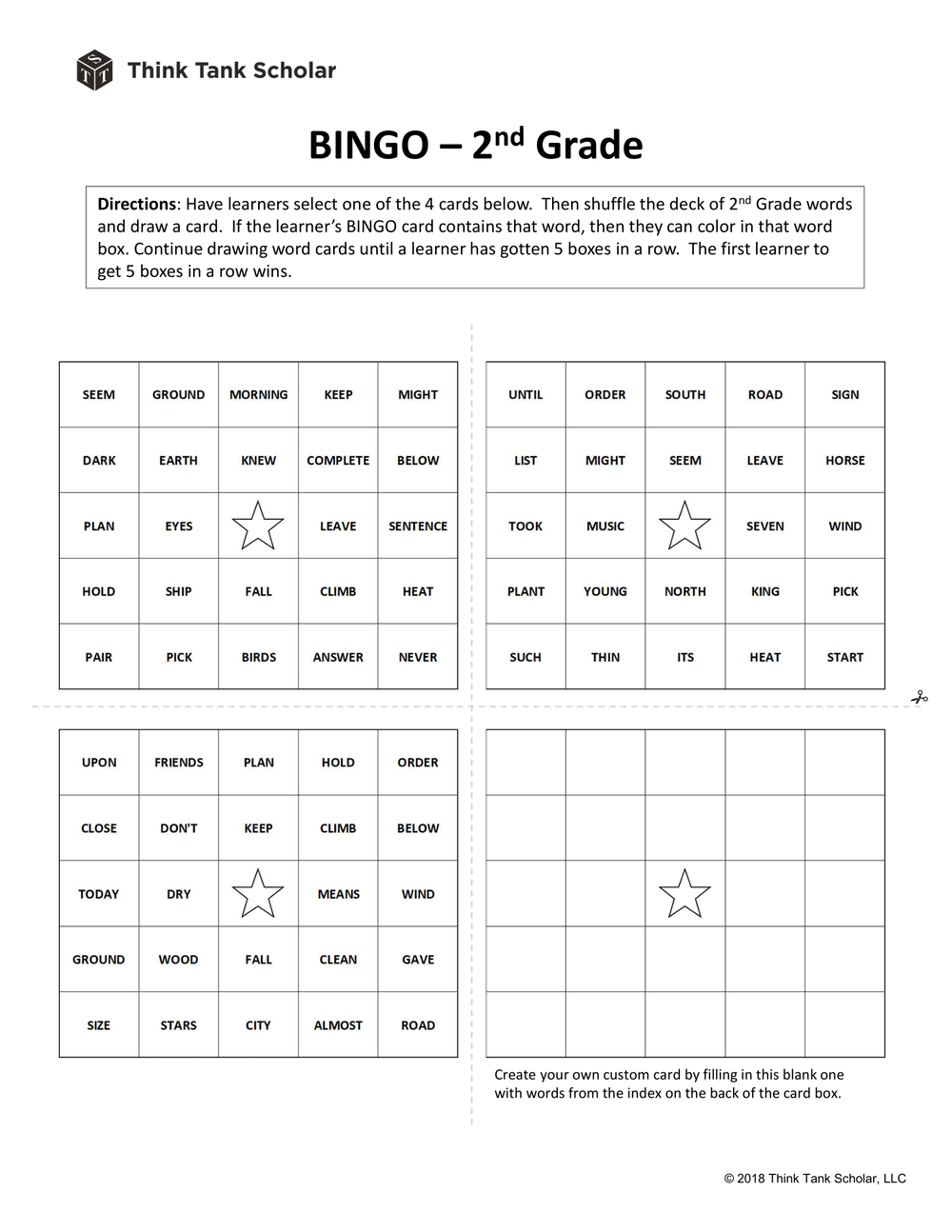 Sight Words Worksheet (FREE): Word Bingo 2nd Grade Printable