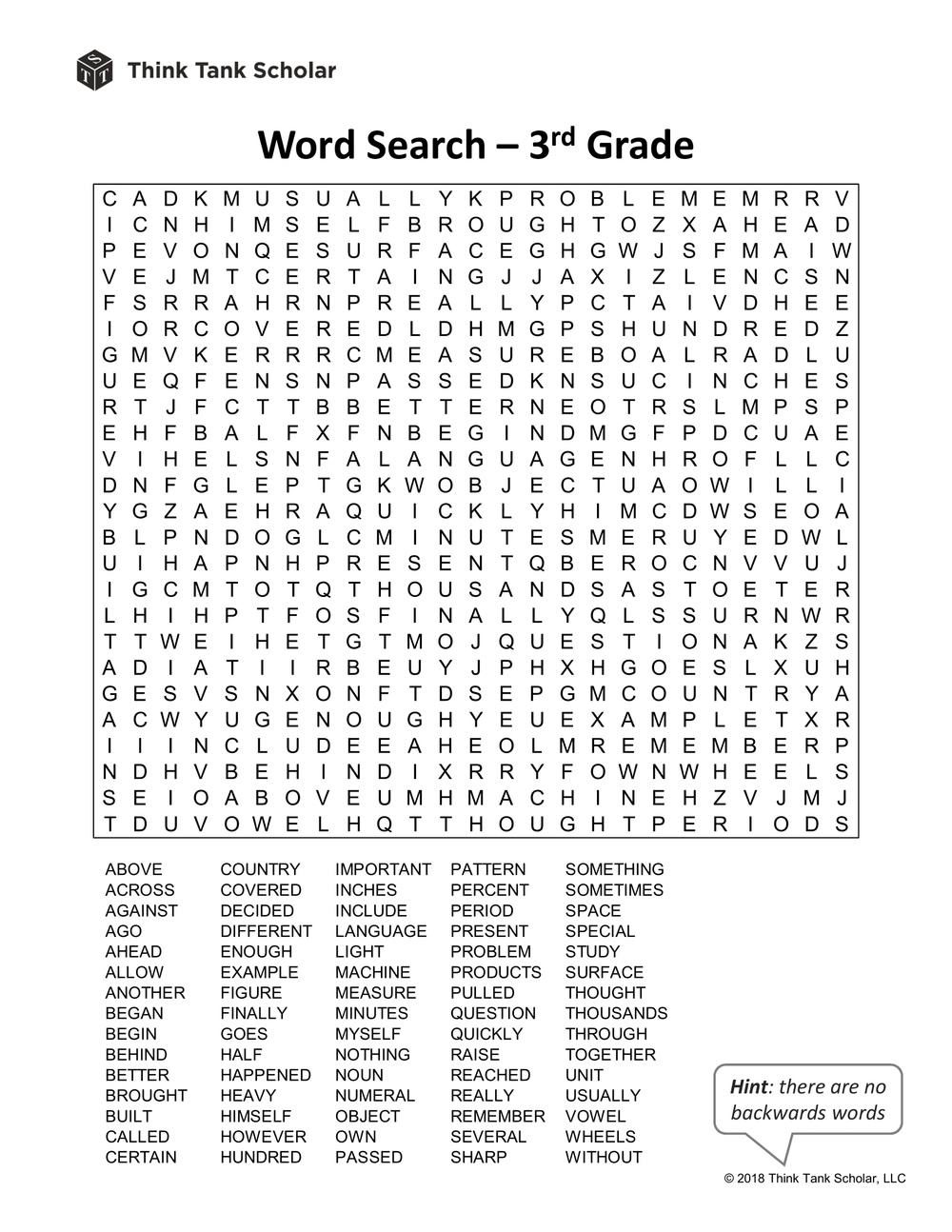 Sight Words Worksheet (FREE): Word Search 3rd Grade Printable