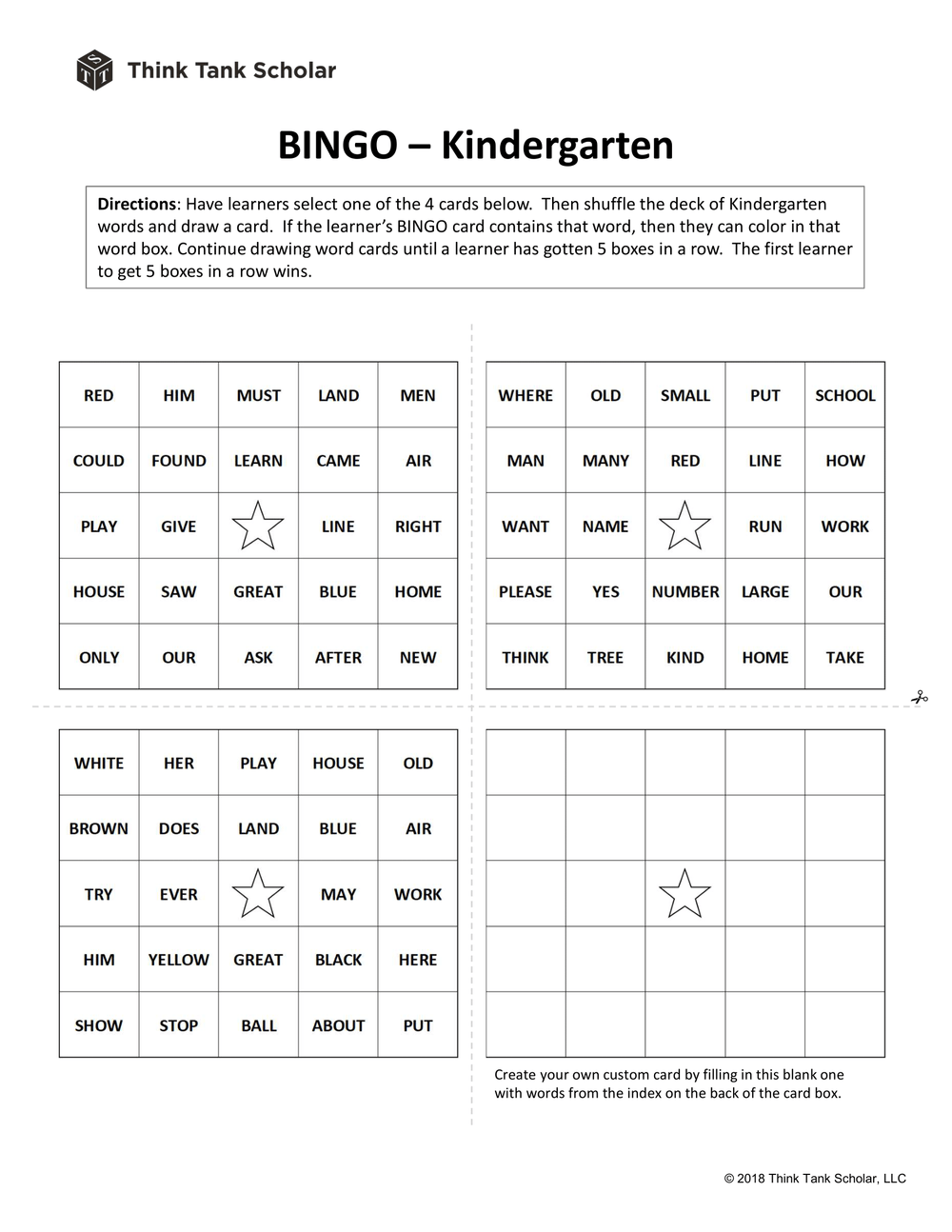 Sight Words Worksheet (FREE): Word Bingo Kindergarten Printable