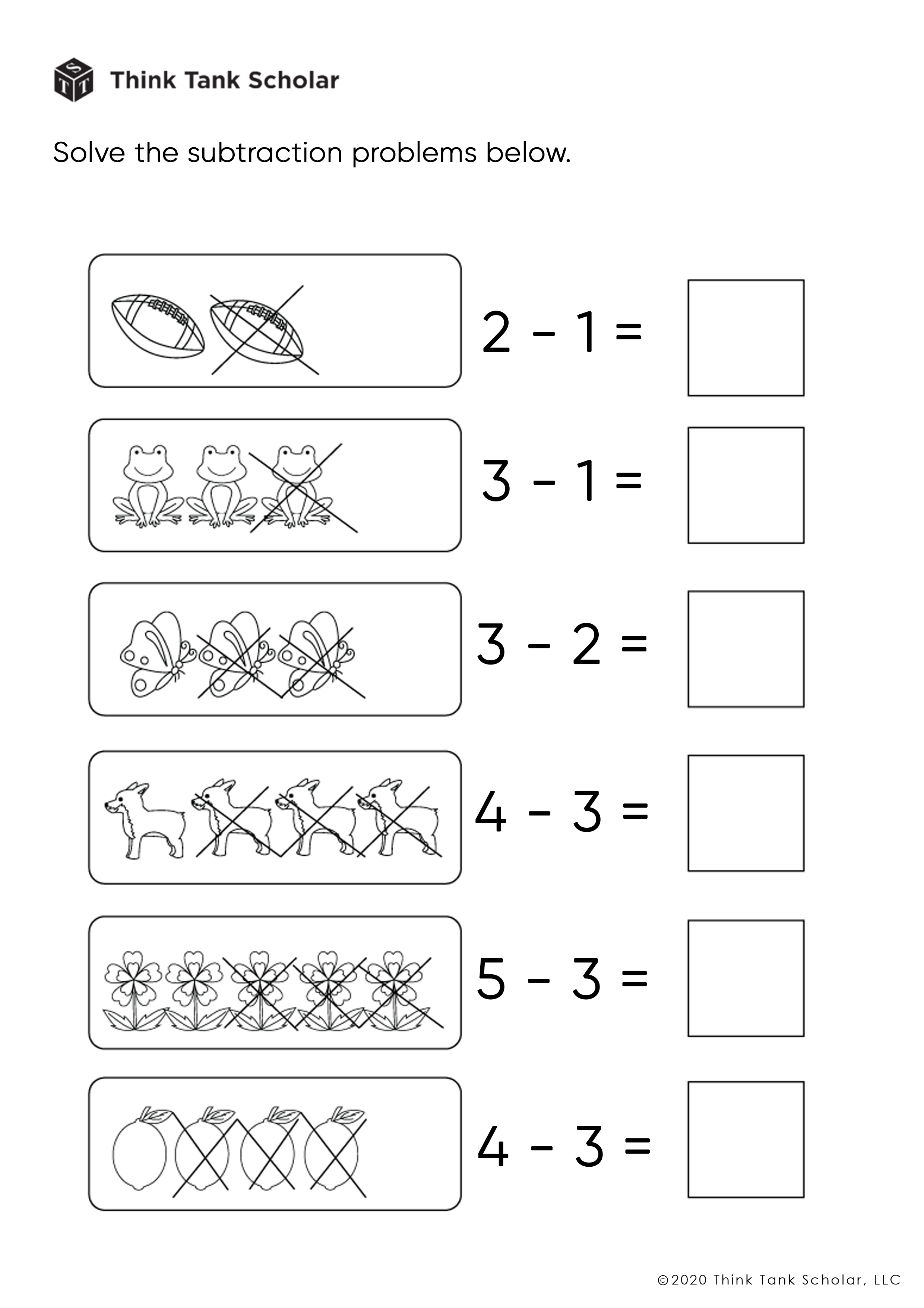 Subtraction Worksheets Exercises Printable PDF (FREE)