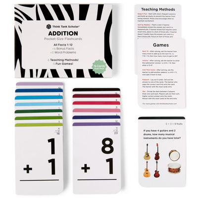 Pocket-Size Math Addition Flashcards | Full Set (All Facts 1-12) | Color Coded