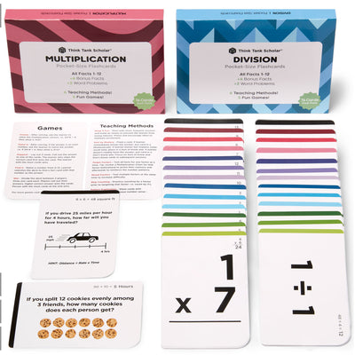Pocket-Size Math Multiplication & Division Flash Cards | Full Set (All Facts 1-12) | Color Coded