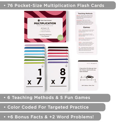 Pocket-Size Math Multiplication Flashcards | Full Set (All Facts 1-12) | Color Coded