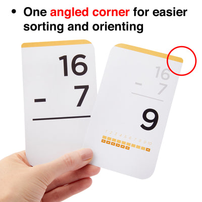 Each addition and subtraction flash card comes with one angled corner for easier sorting.