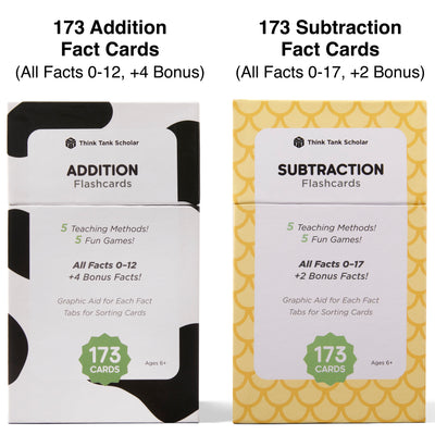 The addition and subtraction flash card bundle comes with 346 fact cards.