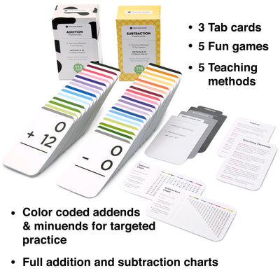 The Addition and Subtraction Flash Cards Bundle comes with 10 learning games and 10 teaching methods.