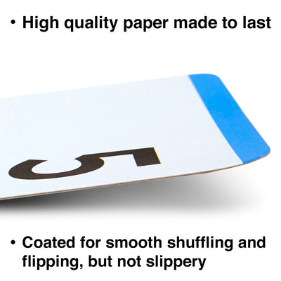 The addition and subtraction flash cards are made with high quality paper and coated for smooth shuffling.