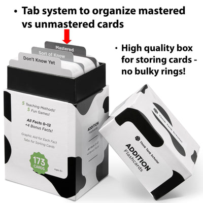 The addition flash card box comes with a tab system to organize mastered vs unmastered cards.