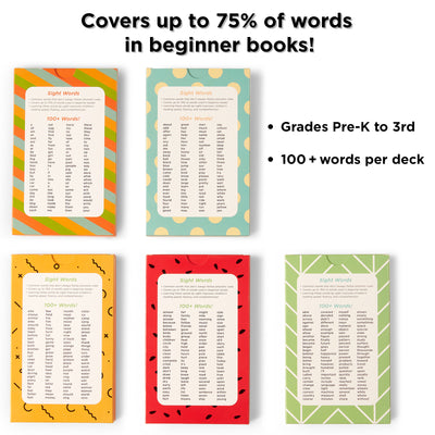 100 Sight Words per pack.  Covers 75% of words in beginner books