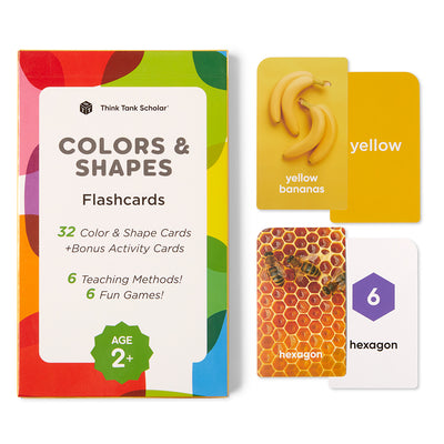 Colors & Shapes Flash Cards for Toddlers, Ages 2+, Preschool
