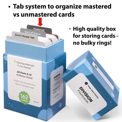 The division flash card box comes with a tab system to organize mastered vs unmastered cards.