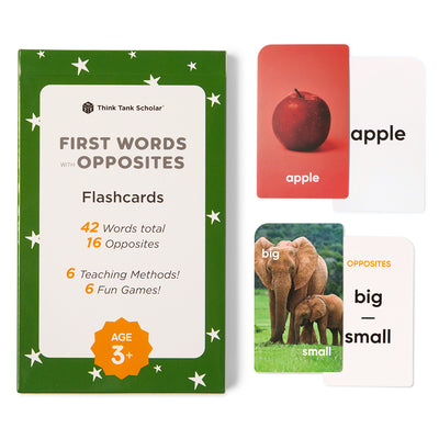 First Words Flash Cards with Opposites for Toddlers, Ages 1-4, Preschool