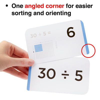 Each multiplication and division flash card comes with one angled corner for easier sorting.
