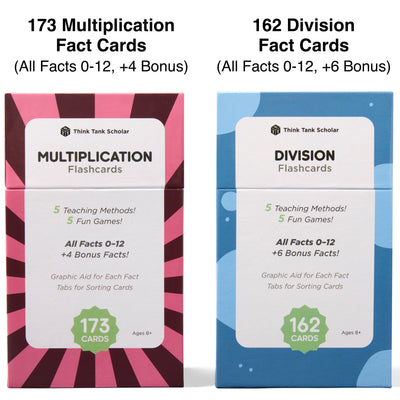 The multiplication and division flash card bundle comes with 335 fact cards.