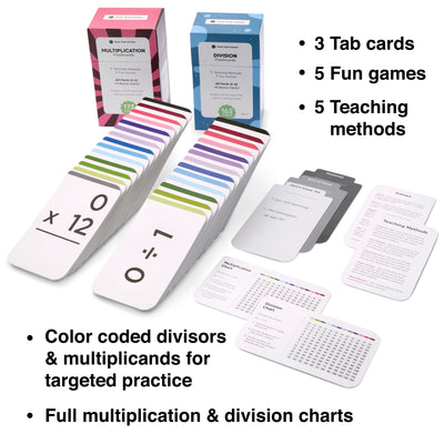 The multiplication and division flash card bundle comes with 10 fun learning games and 10 teaching methods.