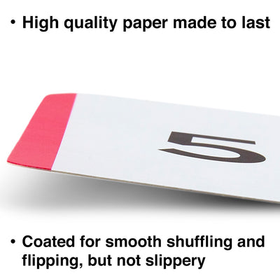 The addition, subtraction, multiplication and division flash cards are made with high quality paper and coated for smooth shuffling.