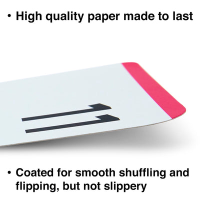 The multiplication flash cards are made with high quality paper and coated for smooth shuffling.