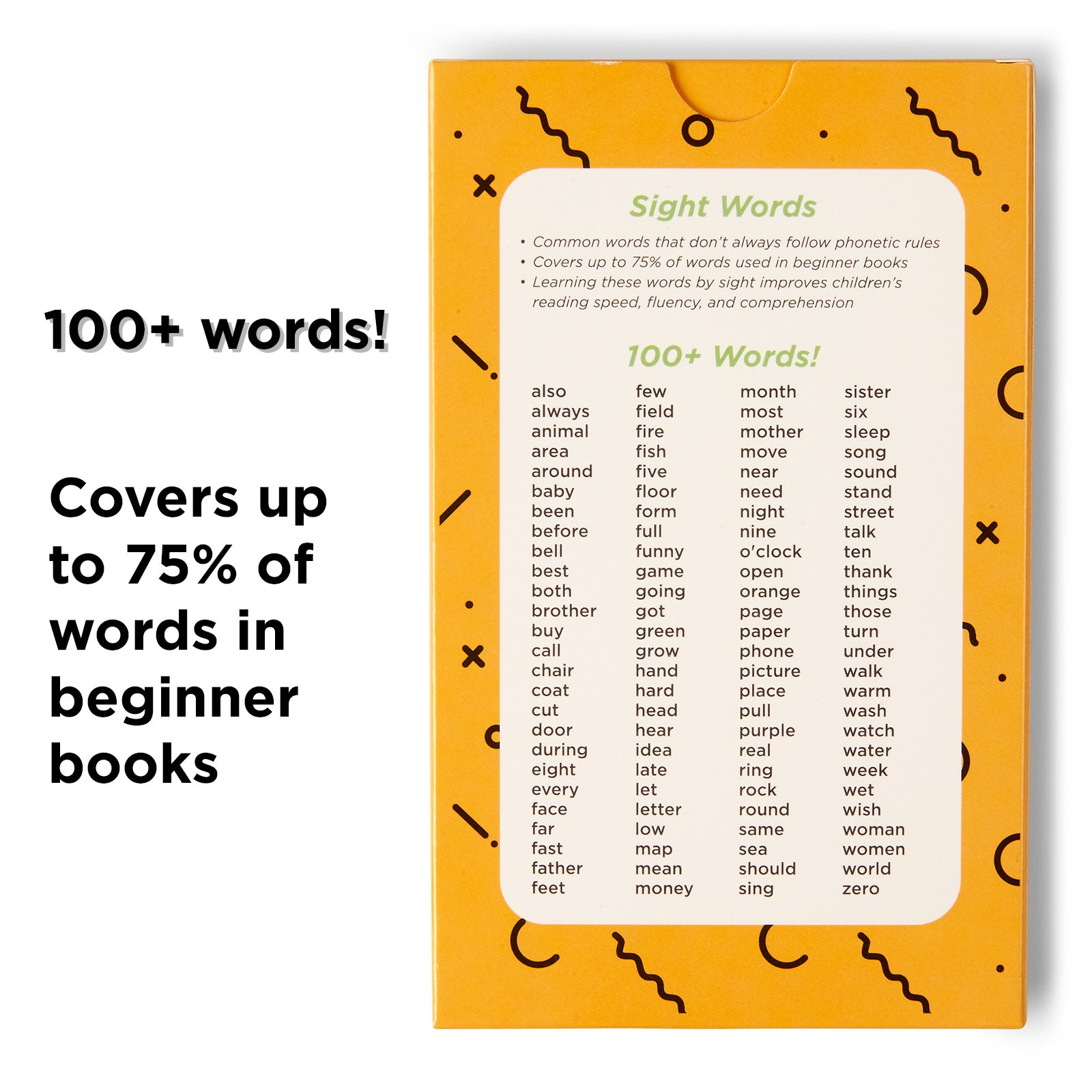 100 Sight Words for First Grade. Covers 75% of words in beginner books