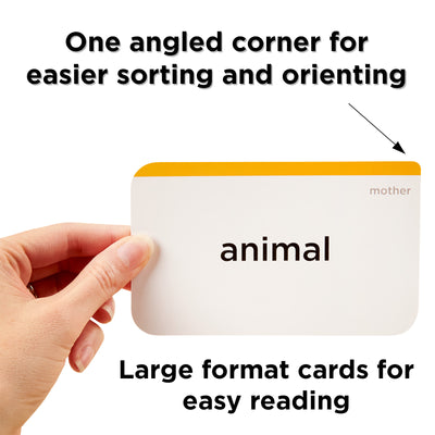 One angled corner for easier sorting and orienting. Large format flash cards for easy reading