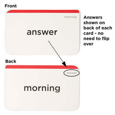 Answers shown on back of each flash card - no need to flip over