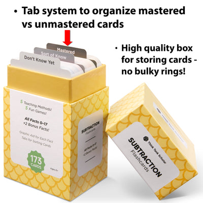 The subtraction flash card box comes with a tab system to organize mastered vs unmastered cards.