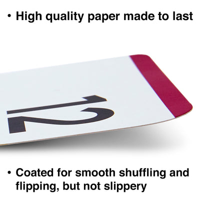 The subtraction flash cards are made with high quality paper and coated for smooth shuffling.