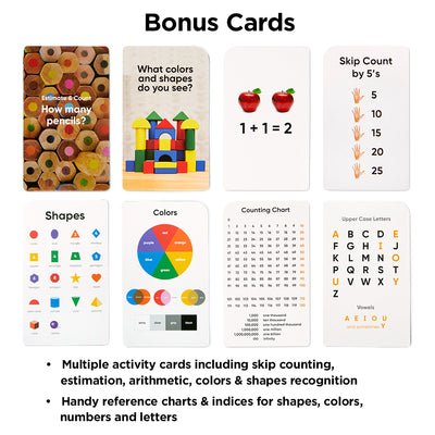 Preschool Flash Cards Bundle - Alphabet, Numbers & Counting, Colors & Shapes, First Words & Opposites & Rhyming