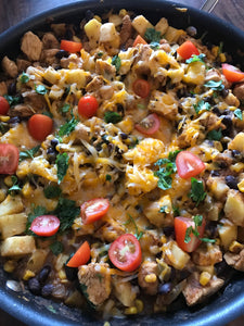 Mexican Chicken, Sweet Potato, and Black Bean Skillet