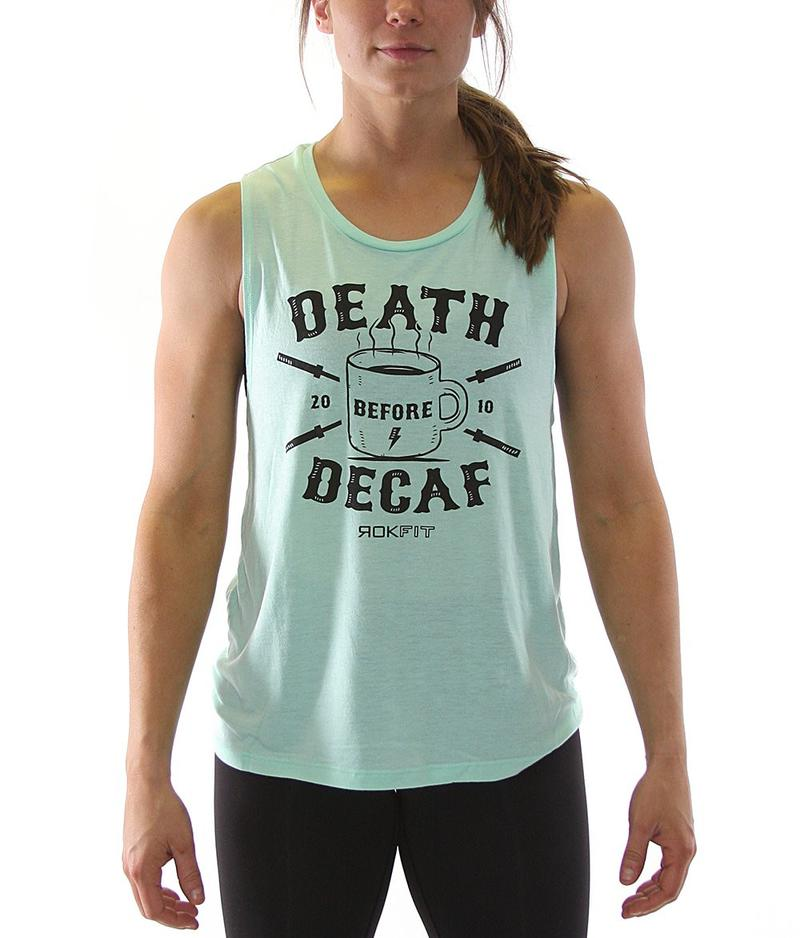 death-before-decaf-womens-crossfit-tank-top-mint-front-by-rokfit