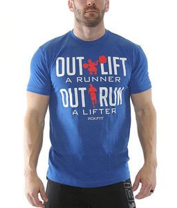 outlift-a-runner-outrun-a-lifter-mens-crossfit-shirt-royal-blue-white-and-red-print-front-by-rokfit
